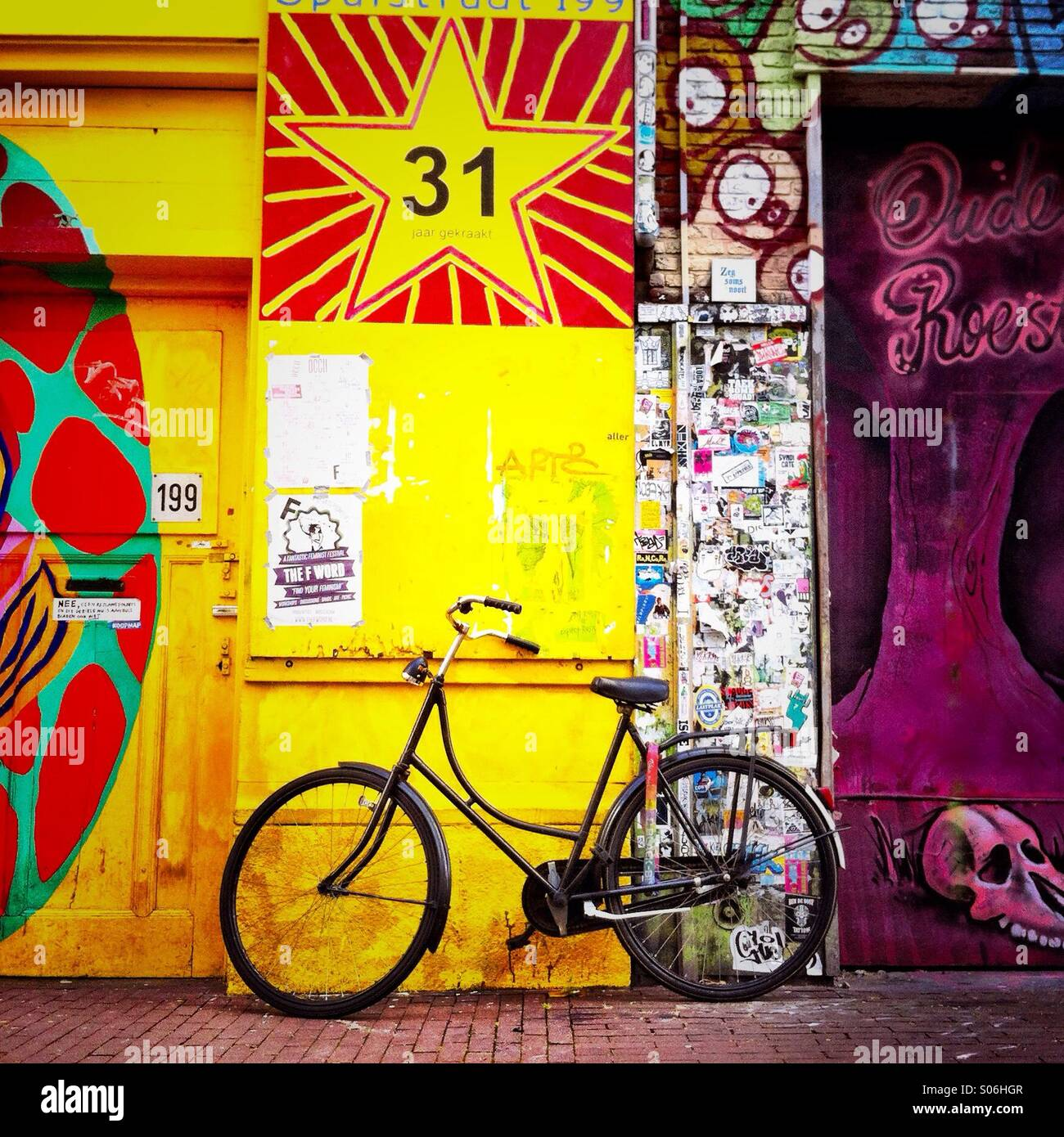 Graffiti wall amsterdam - A Bike Leaning Against A Wall With Graffiti On It Amsterdam The Netherlands Europe