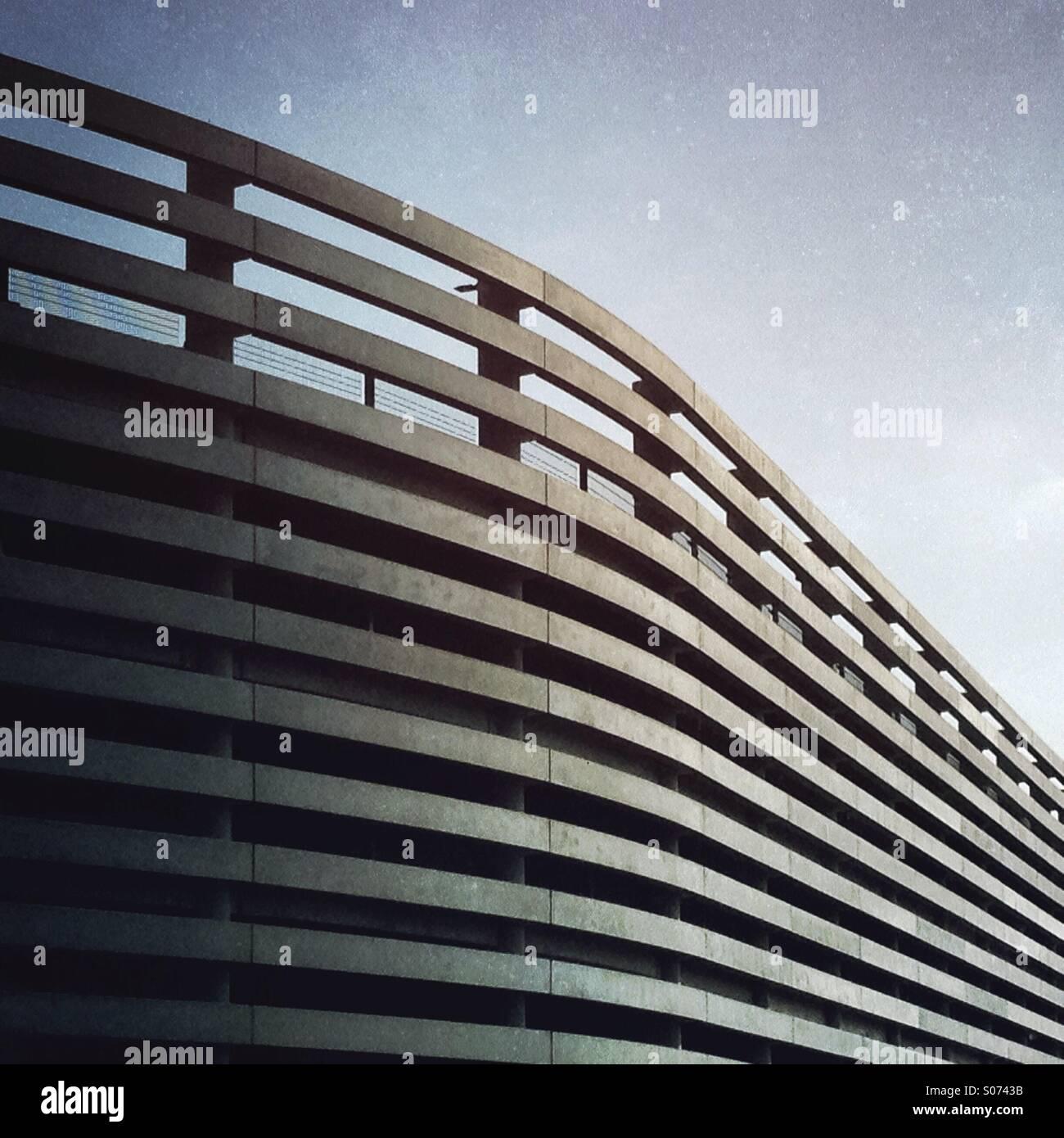Lines and shadows, exterior of modern urban parking garage, Hamburg ...