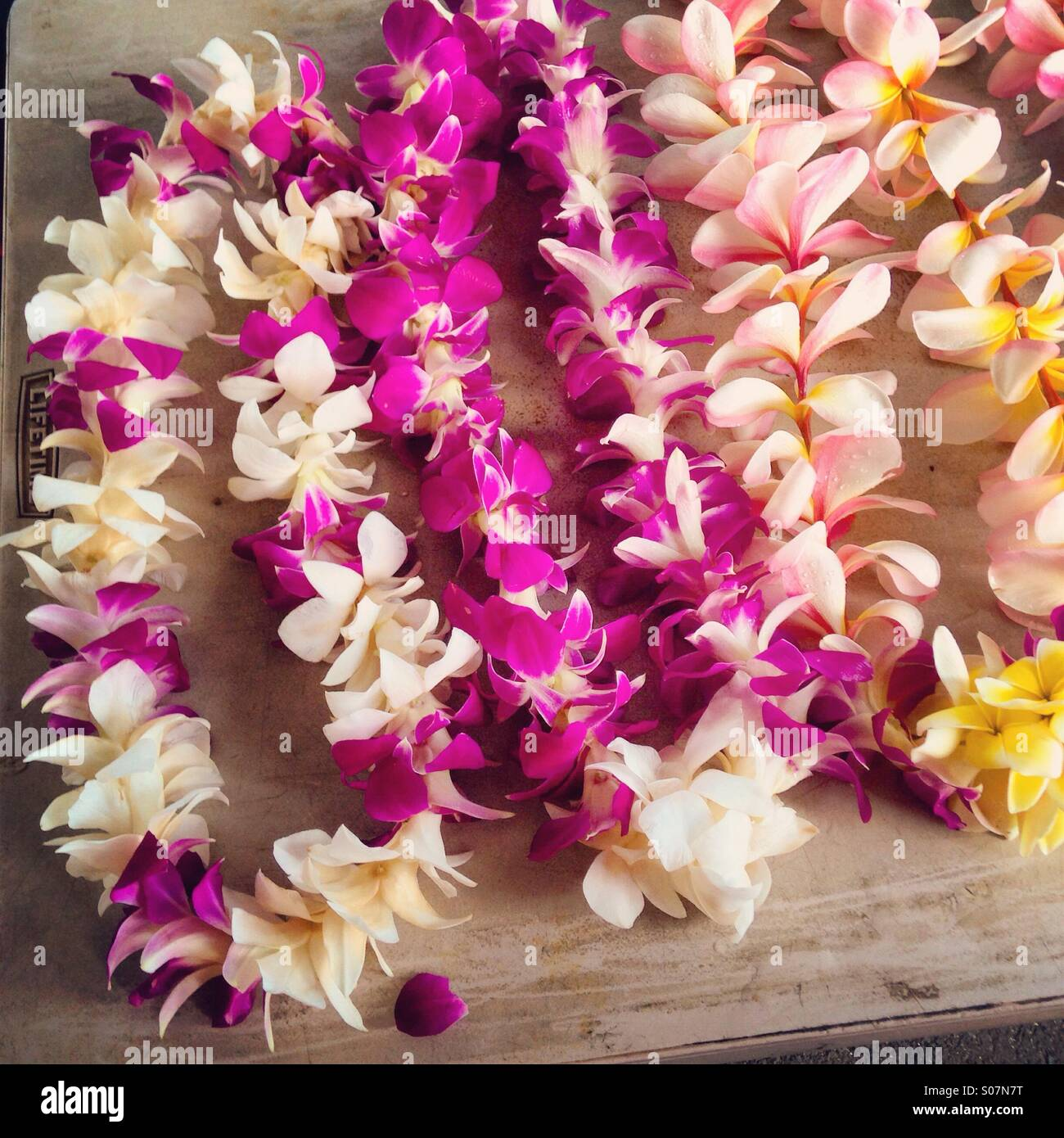 Leis of flowers a cultural tradition in Hawaii Stock Royalty Free Ima