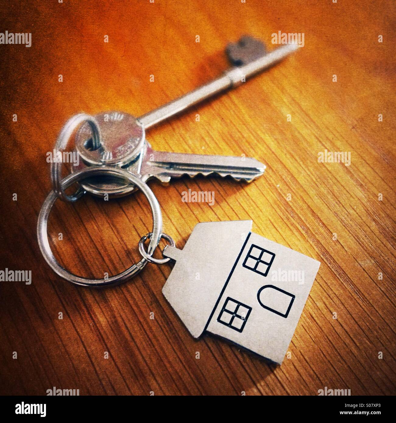House keys on a table top Stock Photo, Royalty Free Image ...