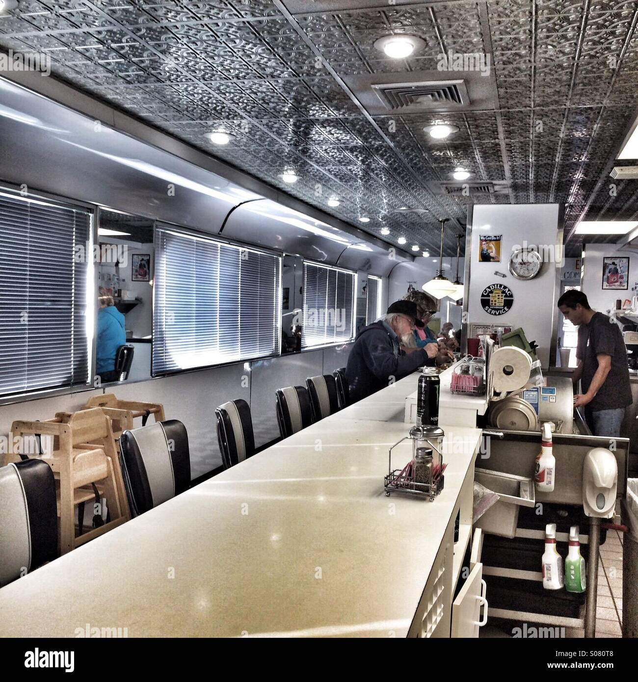 Interior Of Traditional Railroad Car Style Diner Alpine Texas USA