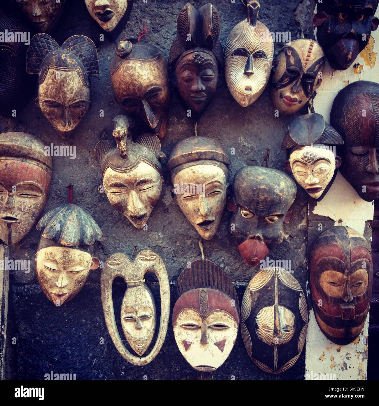 stock photo wooden african masks in sale morocco