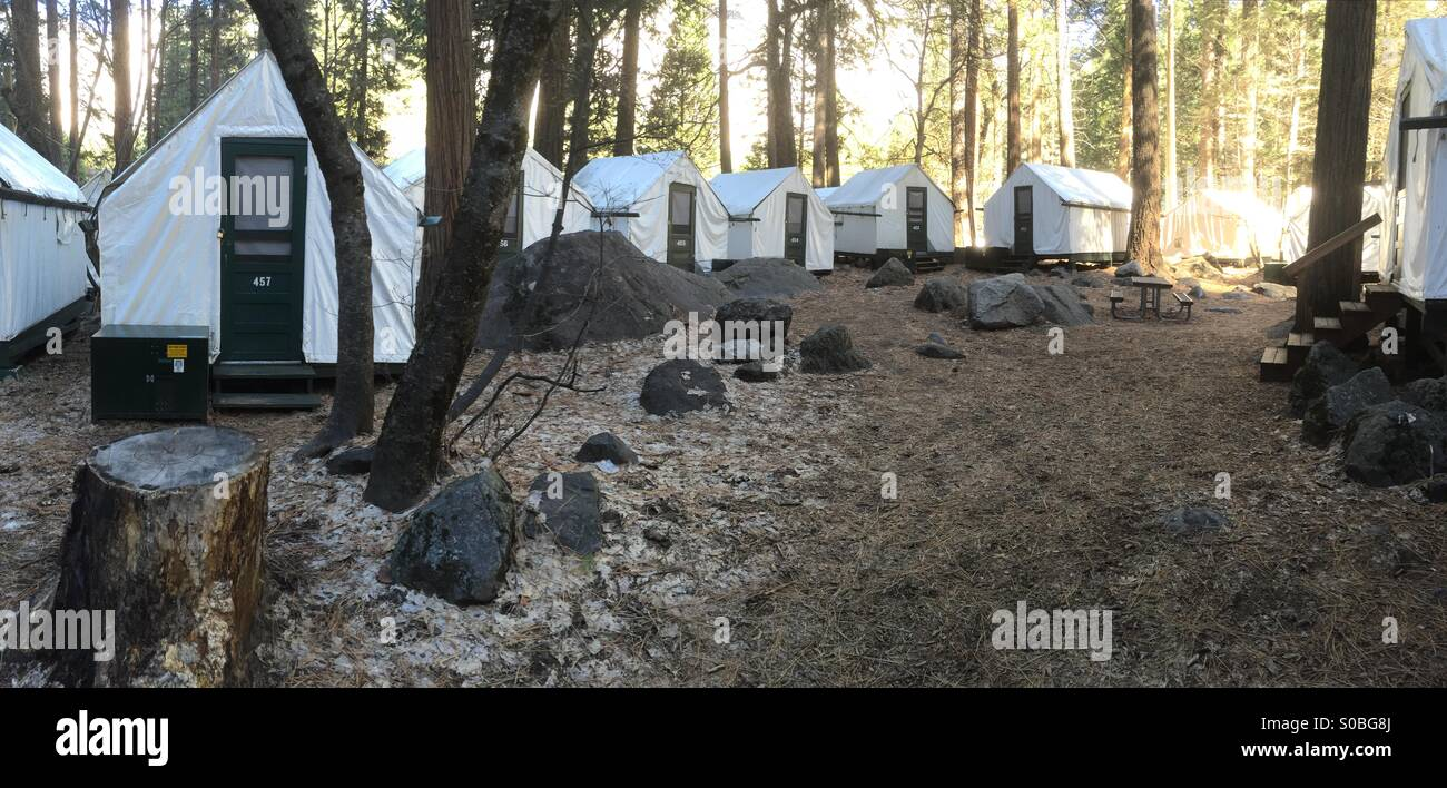 Tent cabins in curry village Yosemite national park California usa & Tent cabins in curry village Yosemite national park California usa ...