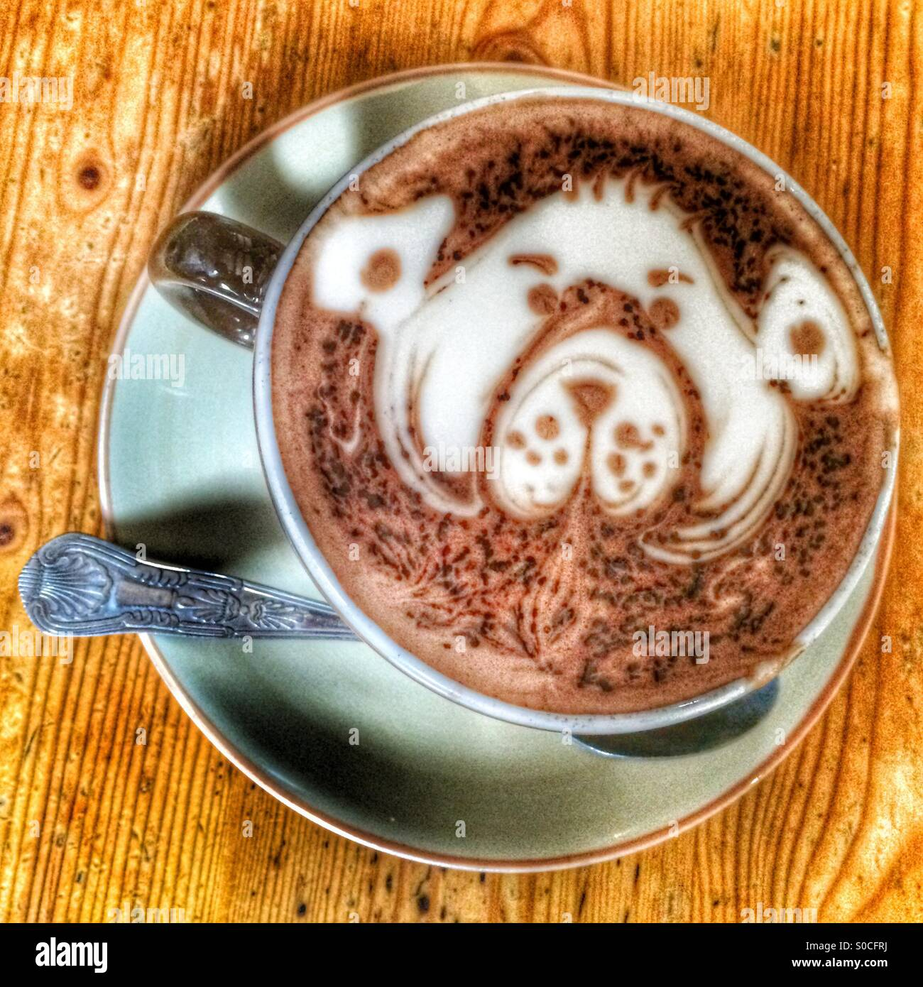 A cup of Hot Chocolate with a dogs face decoration Stock Photo ...