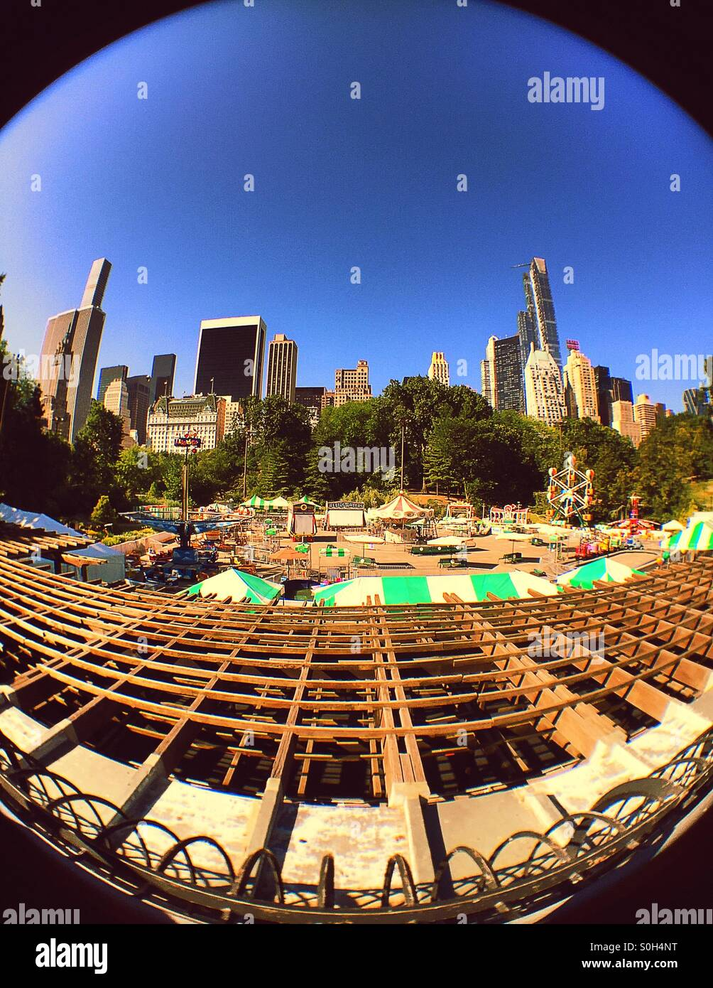 Fish Eye View Of Victorian Gardens In Wollman Rink Central Park NYC