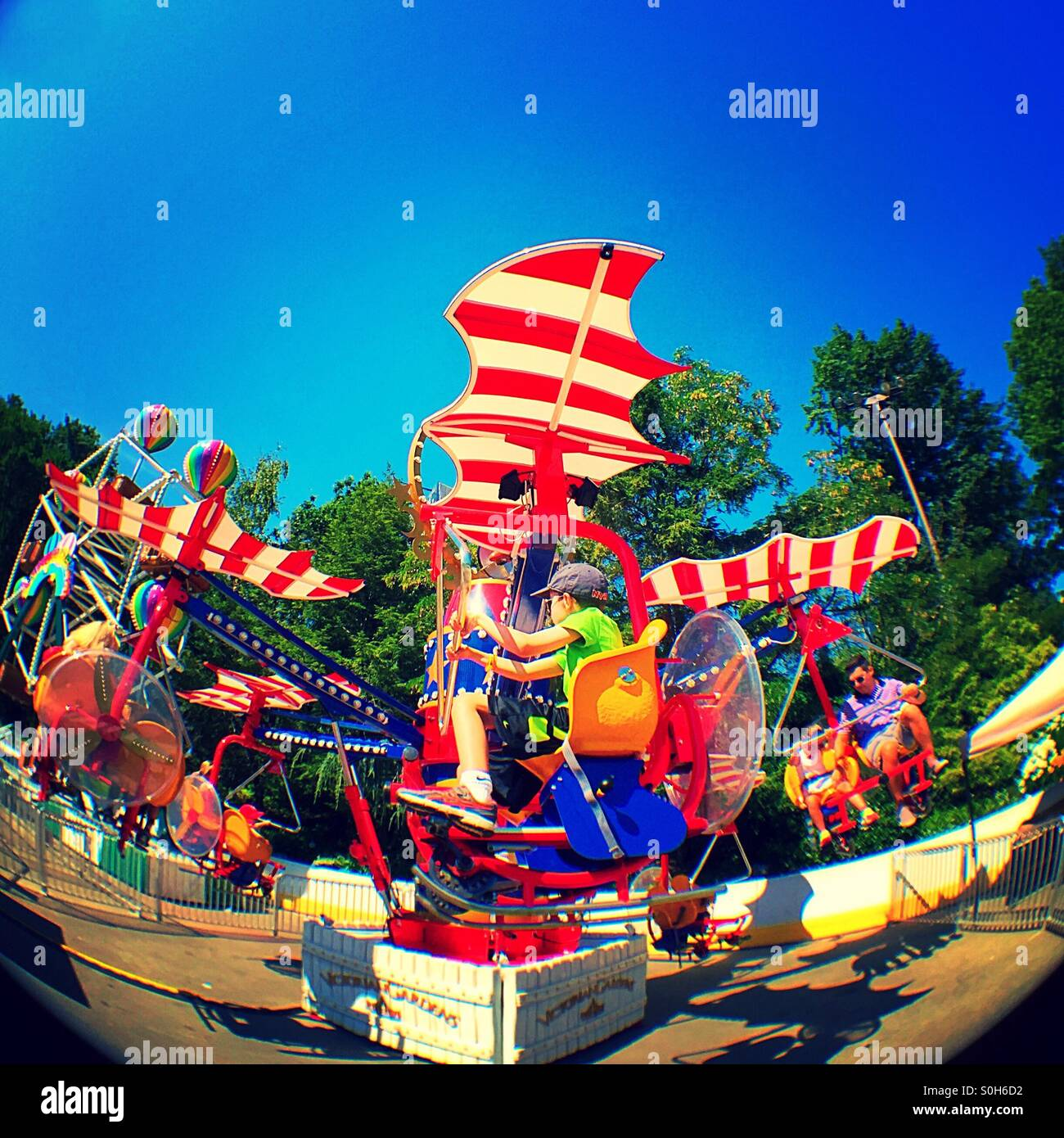 Carnival Ride In Central Park In Victoria Gardens New York City Usa Stock Photo Royalty Free