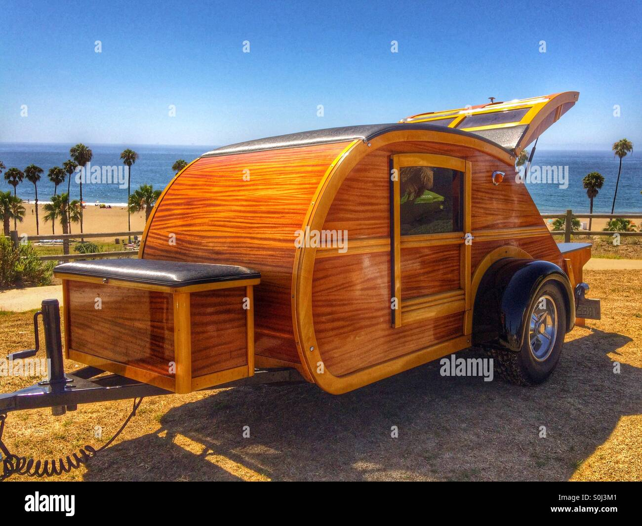 A 1948 Wooden Teardrop Trailer Camper In Santa Barbara