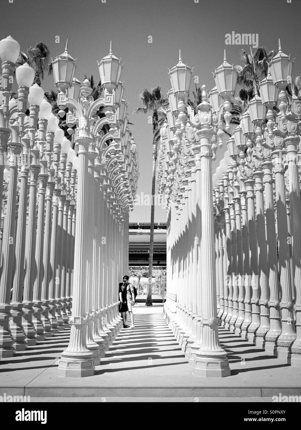 Couple In The LACMA Street Light Exhibit