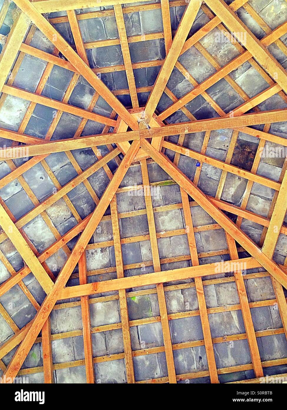 Hexagonal roof frame structure stock photo royalty free for Hexagonal roof framing