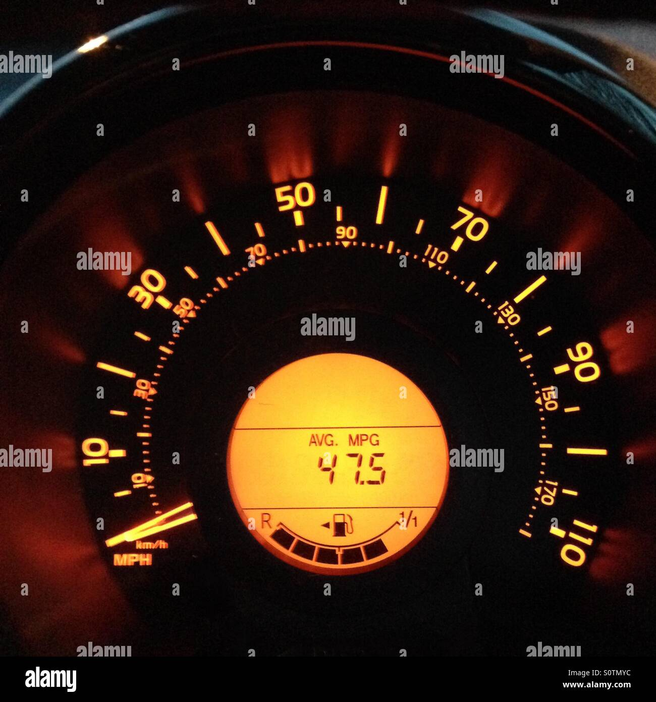 Speedometer in car which shows miles per gallon Stock Photo ...