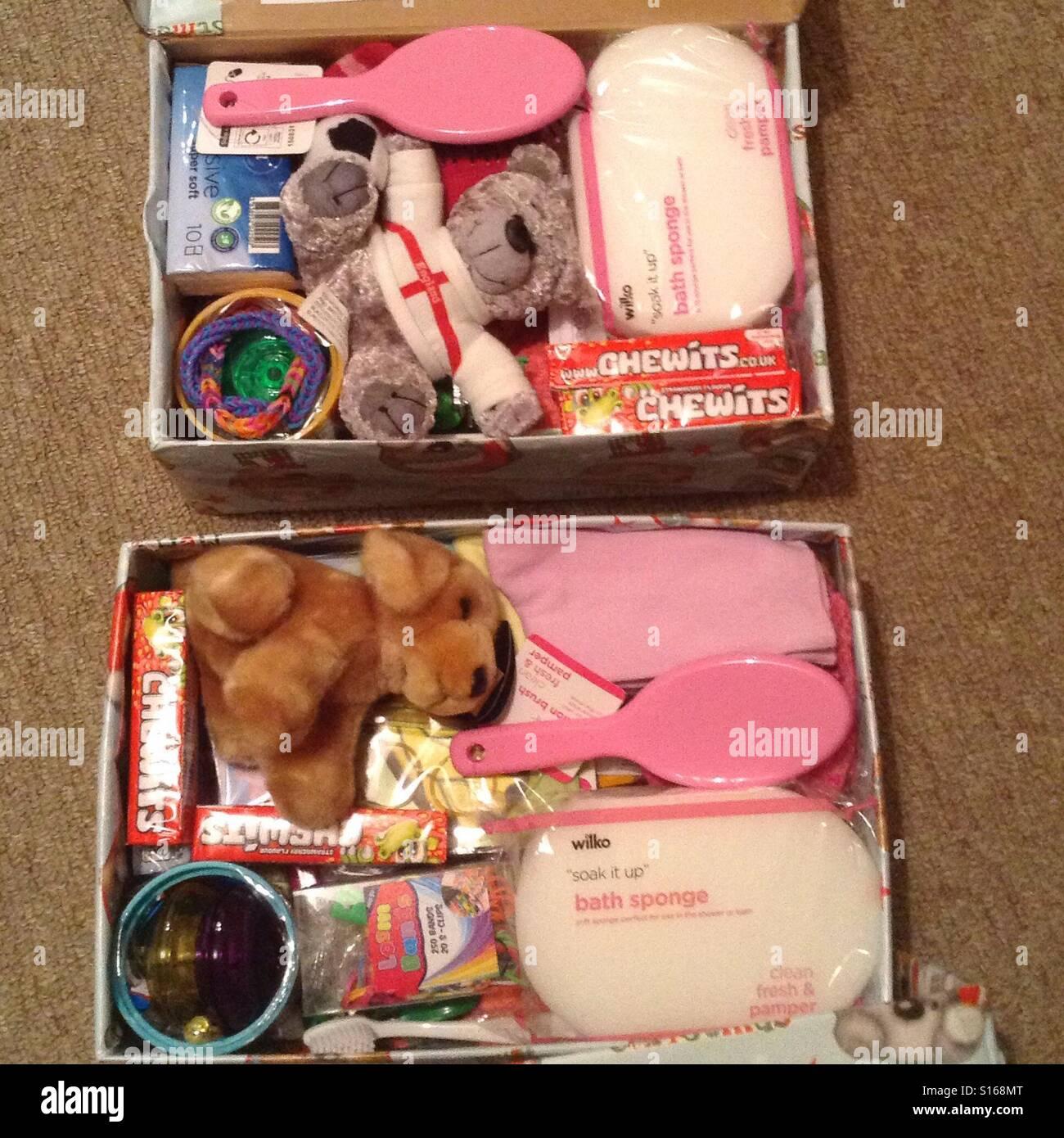 Operation christmas child shoeboxes Stock Photo, Royalty Free ...