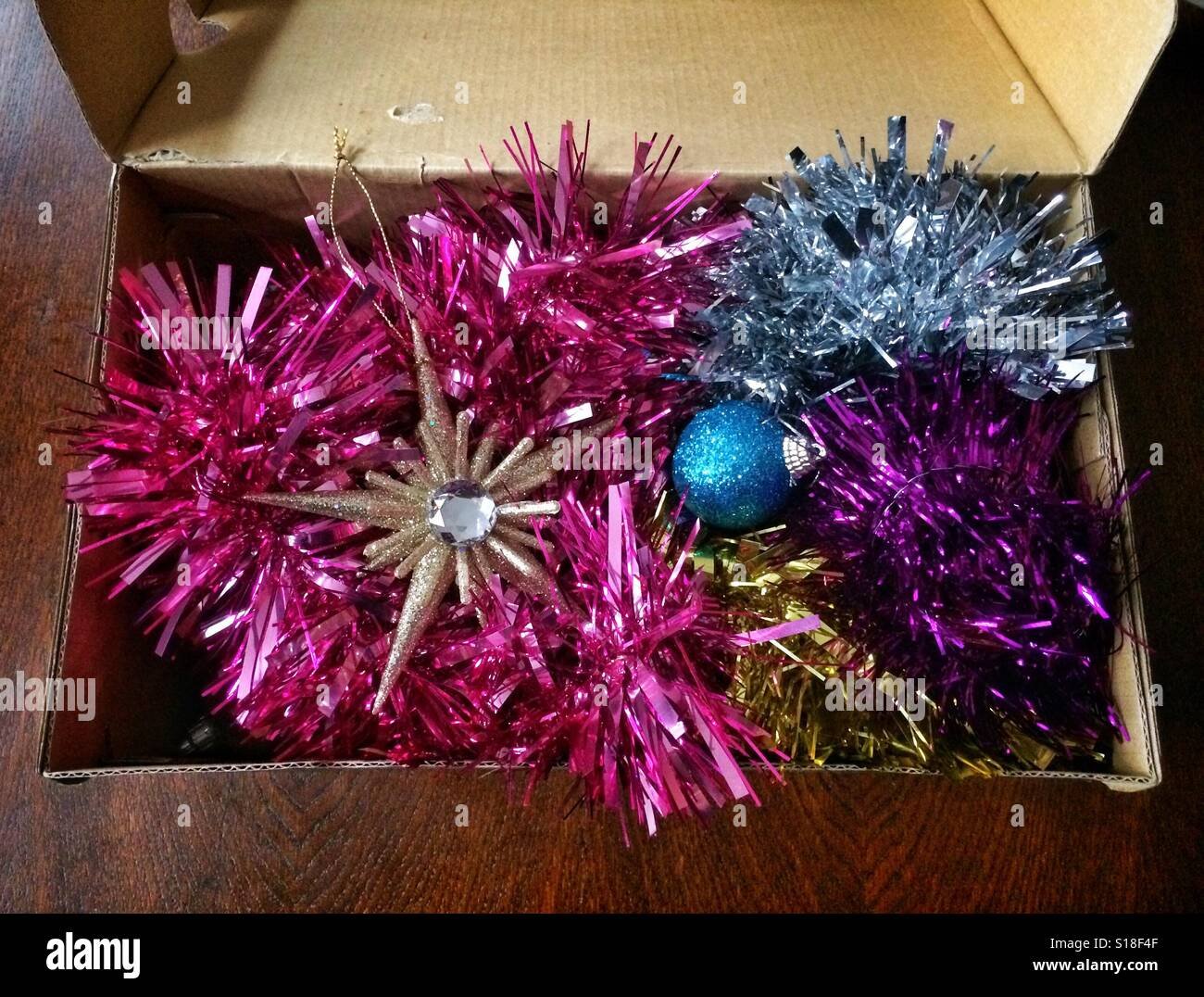 Christmas Tree Decorations In A Box - Christmas tree decorations packed away in a cardboard box ready for next year stock photo