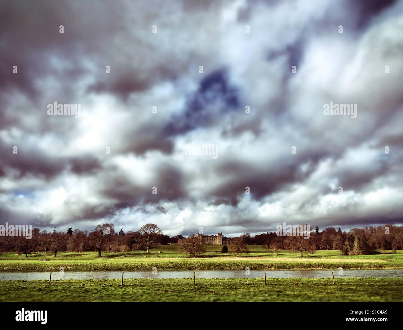 Stock Photo - The River Tweed and the estate of Floors Castle, the home of