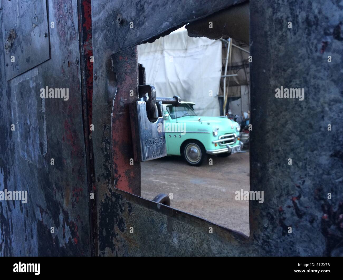 Vintage car in junk yard Stock Photo, Royalty Free Image: 310773103 ...