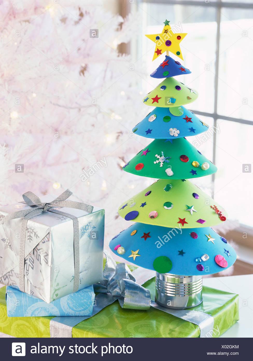 Home-made Christmas tree and gifts Stock Photo: 275422888 - Alamy