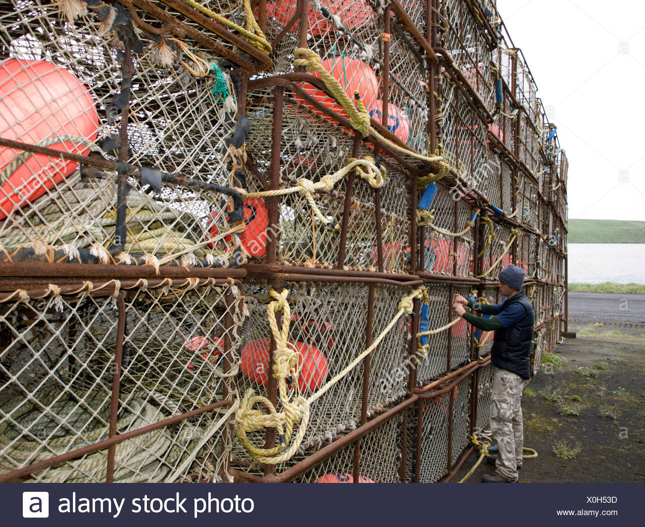 Crab Fishing Gear Being Put Up For Storage, St. Paul Island, Alaska, Summer