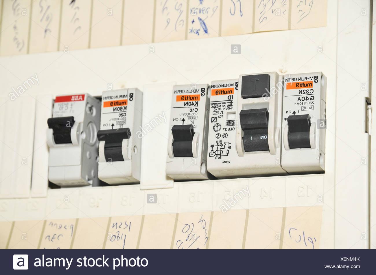 domestic fuse box close up stock photo 275842691 alamy circuit breaker box domestic fuse box close up