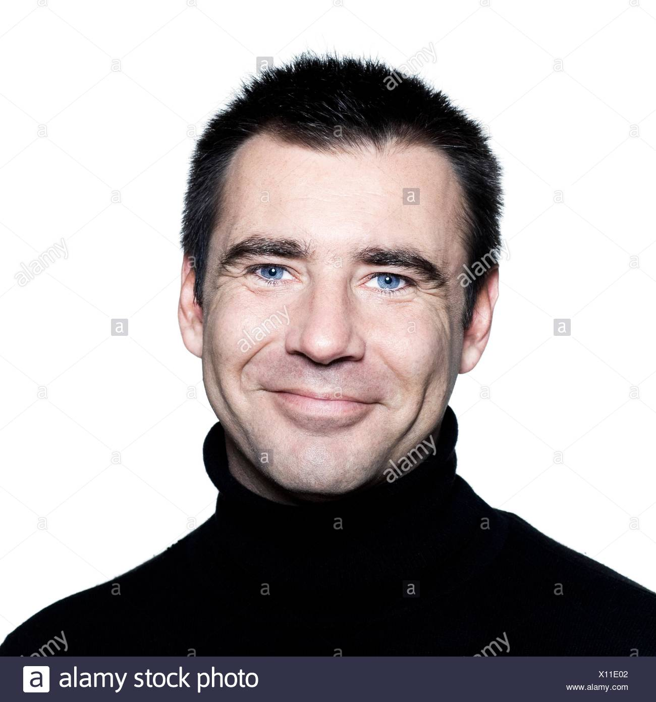 Handsome Caucasian Man Smiling Short Brown With Polo Turtle Neck