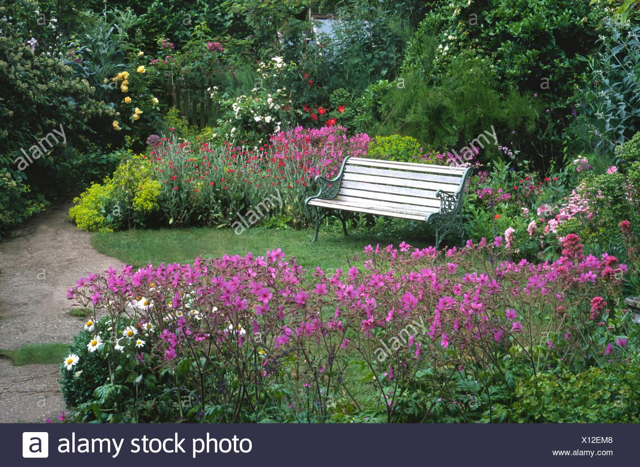 cottage small garden norfolk england uk bench lawn geranium pink purple flowers small garden design gardens benches seating - Small Garden Bench