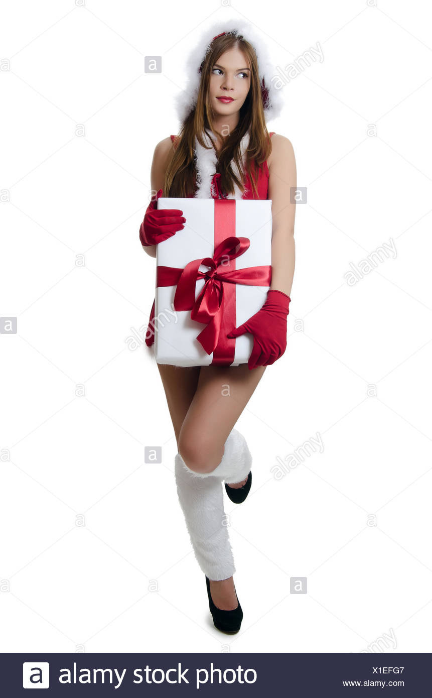 The Christmas girl with boxes of gifts isolated Stock Photo ...