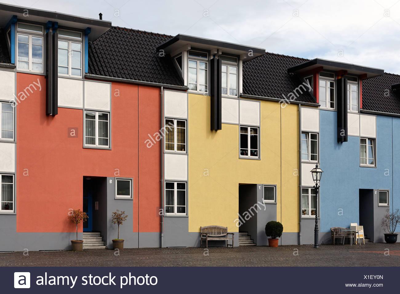 Three modern colorful row houses, Krefeld-Linn, North Rhine ...