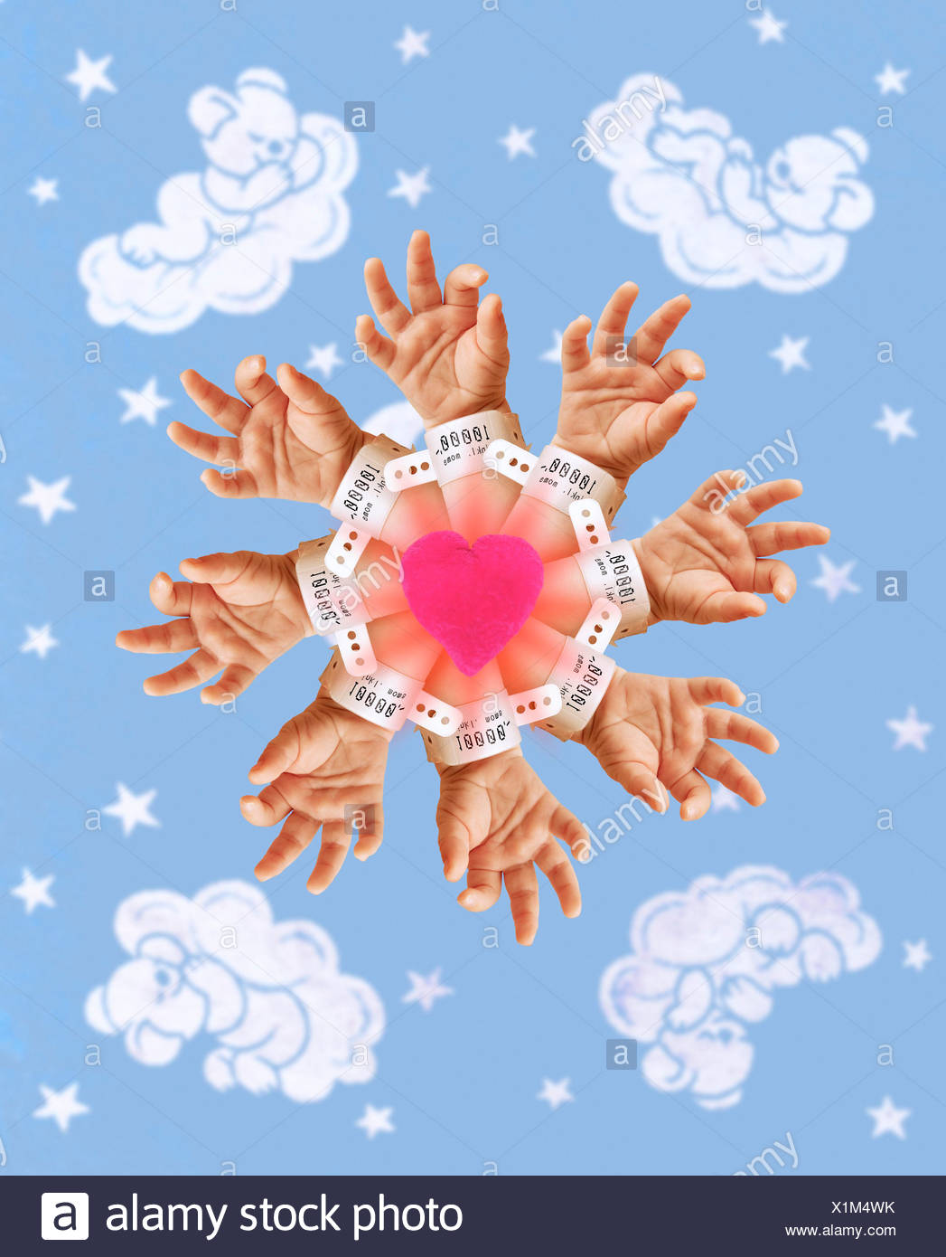tagged hands extending radially from a heart with teddy bears
