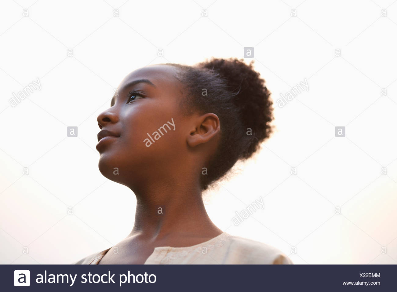 low angle profile of woman s face stock photo 276650660 alamy