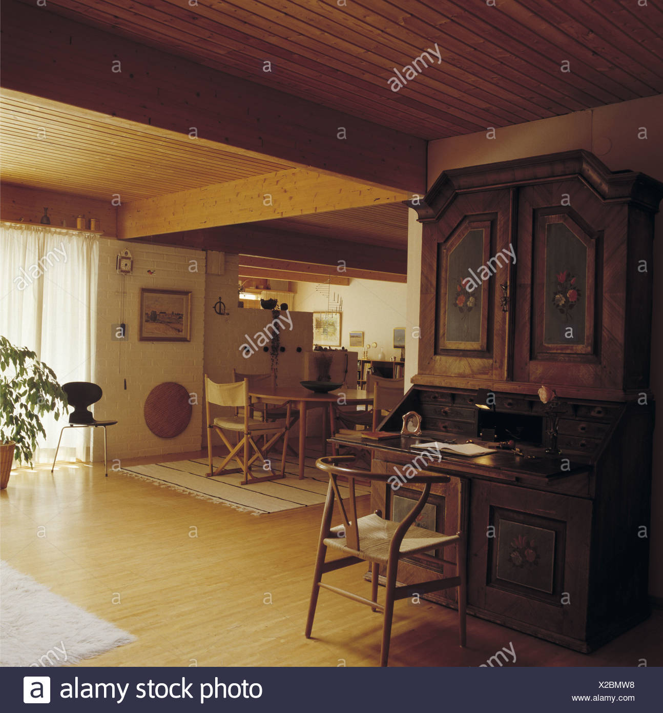 Fifties Chair And Antique Painted Scandinavian Bureau In Scandinavian  Country Dining Room With Wooden Flooring And Ceiling
