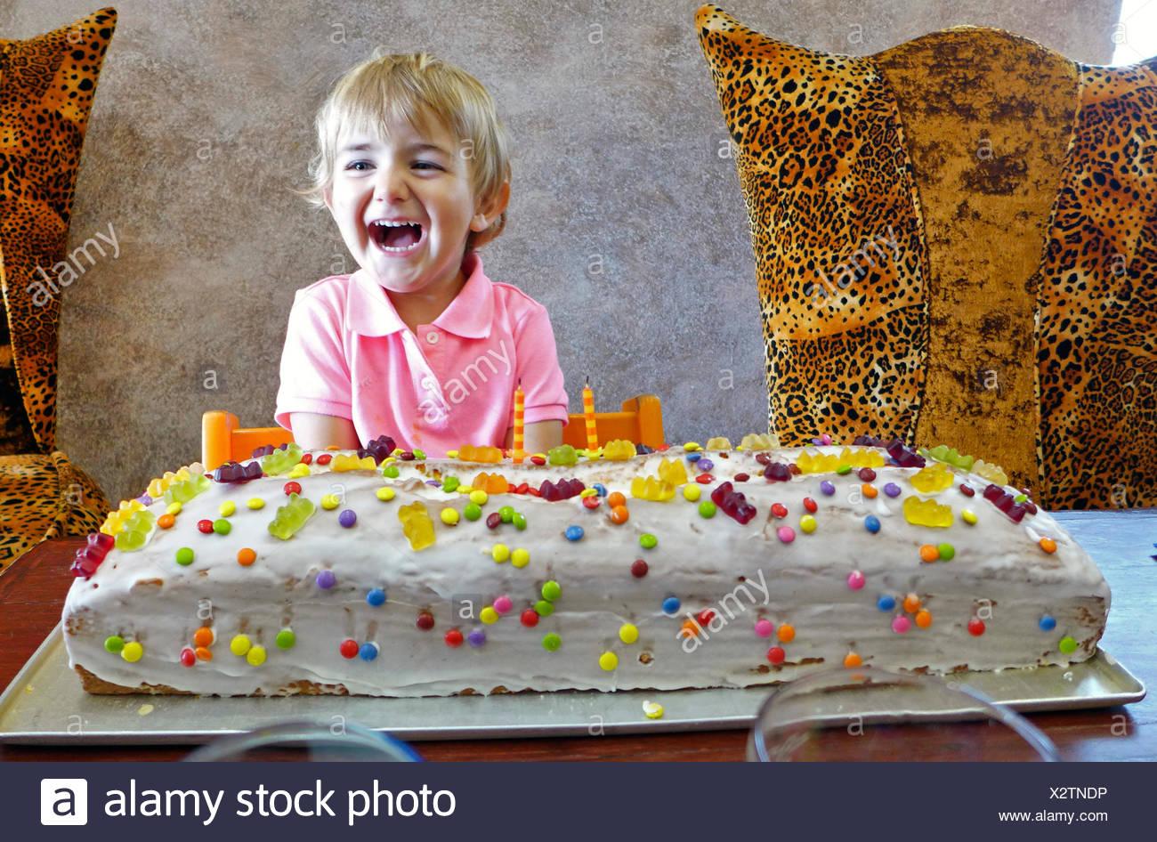 Little Boy With Giant Birthday Cake Stock Photo 277138898 Alamy