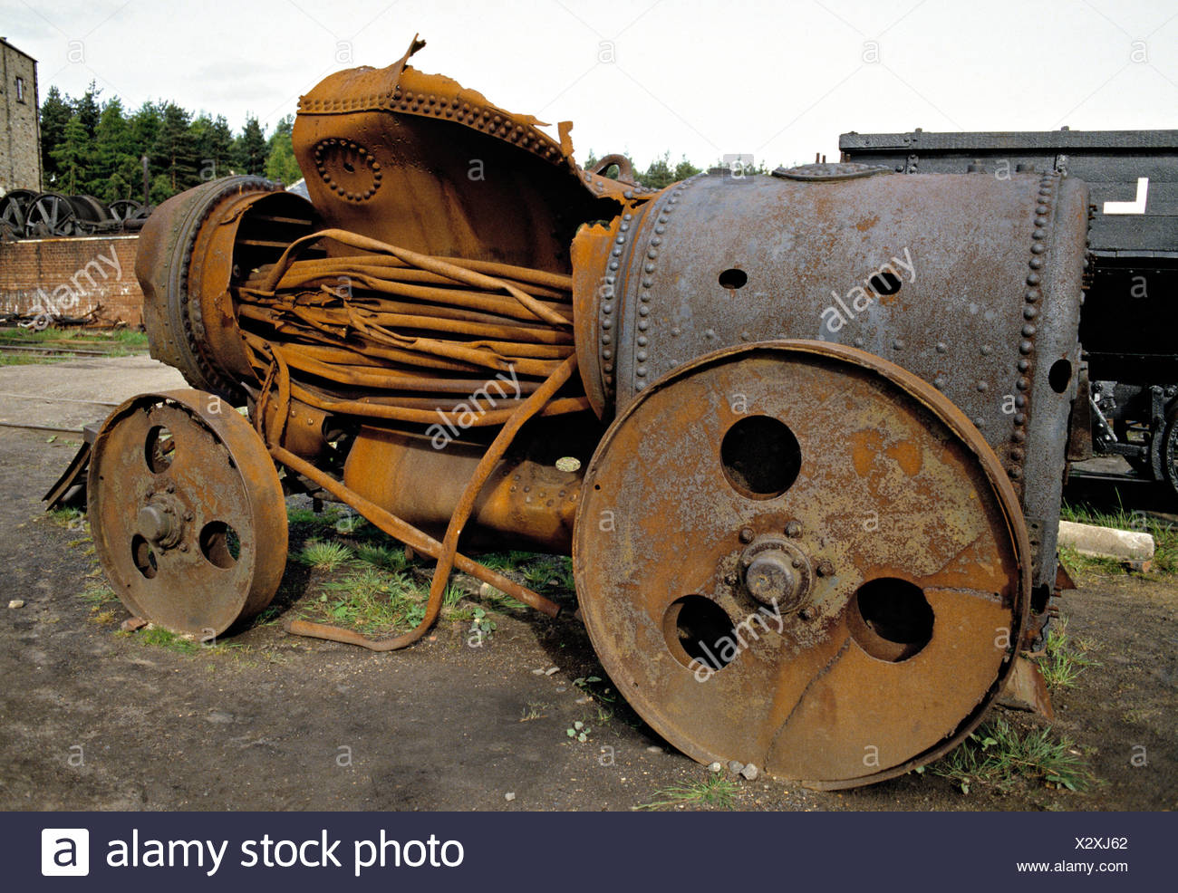 Burst boiler on steam traction engine, United Kingdom Stock Photo ...