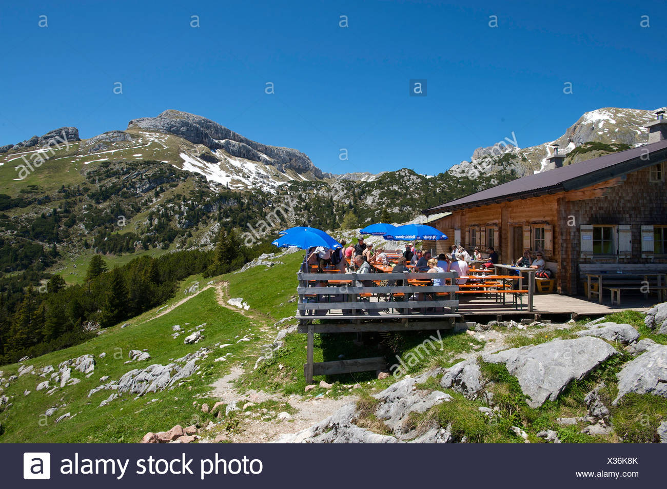Alpine Hut Below Mt Gschoellkopf In The Rofangebirge Mountains Tyrol Austria Europe