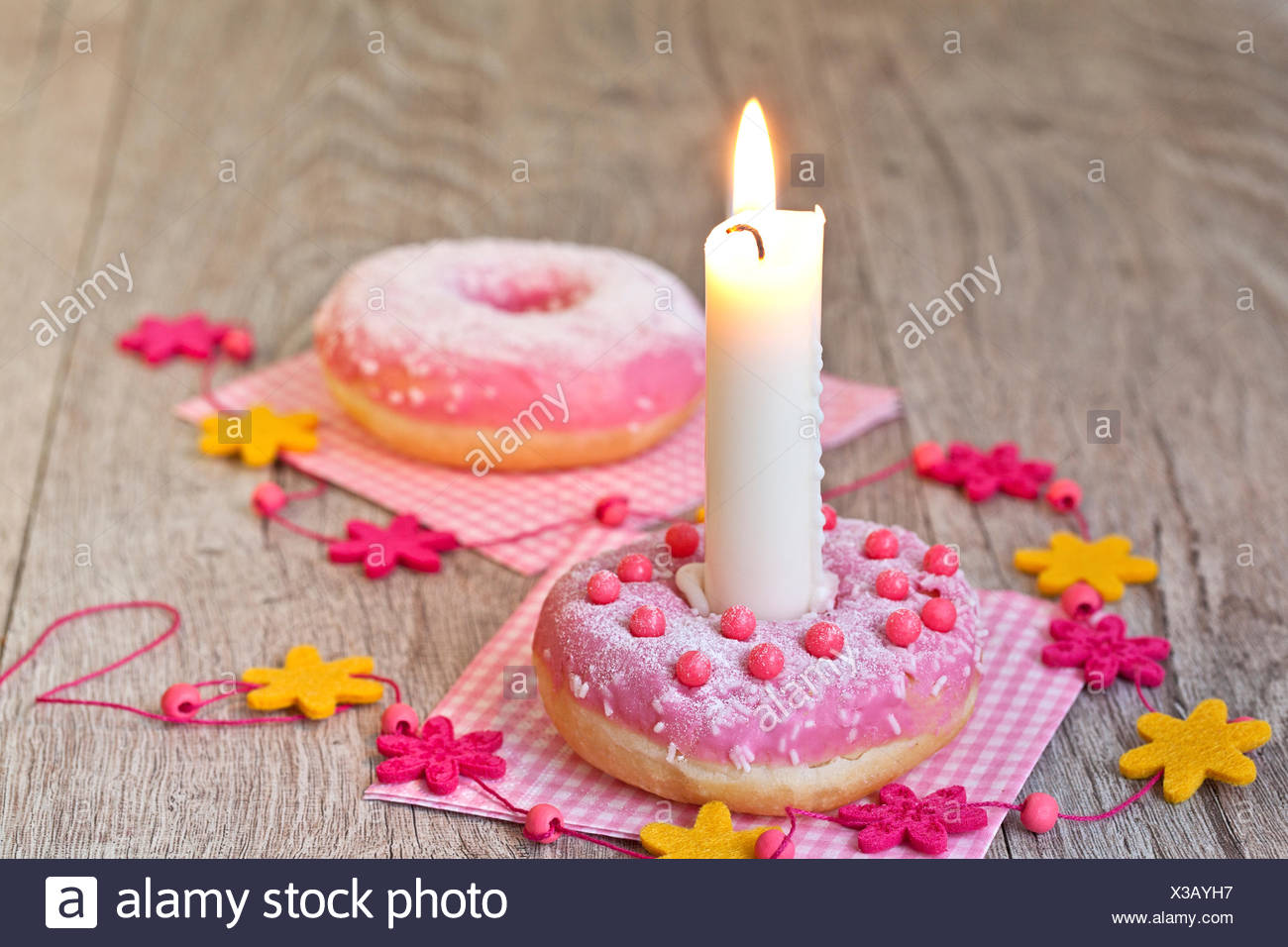 Donutbirthday Cake Stock Photo 277451027 Alamy
