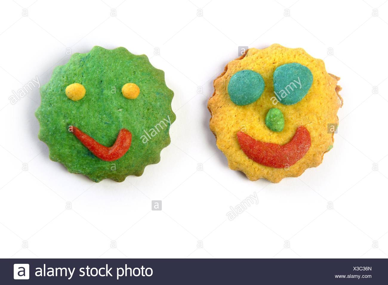 Funny Smiley Faces Biscuits Colorful Round Shape Stock Photo