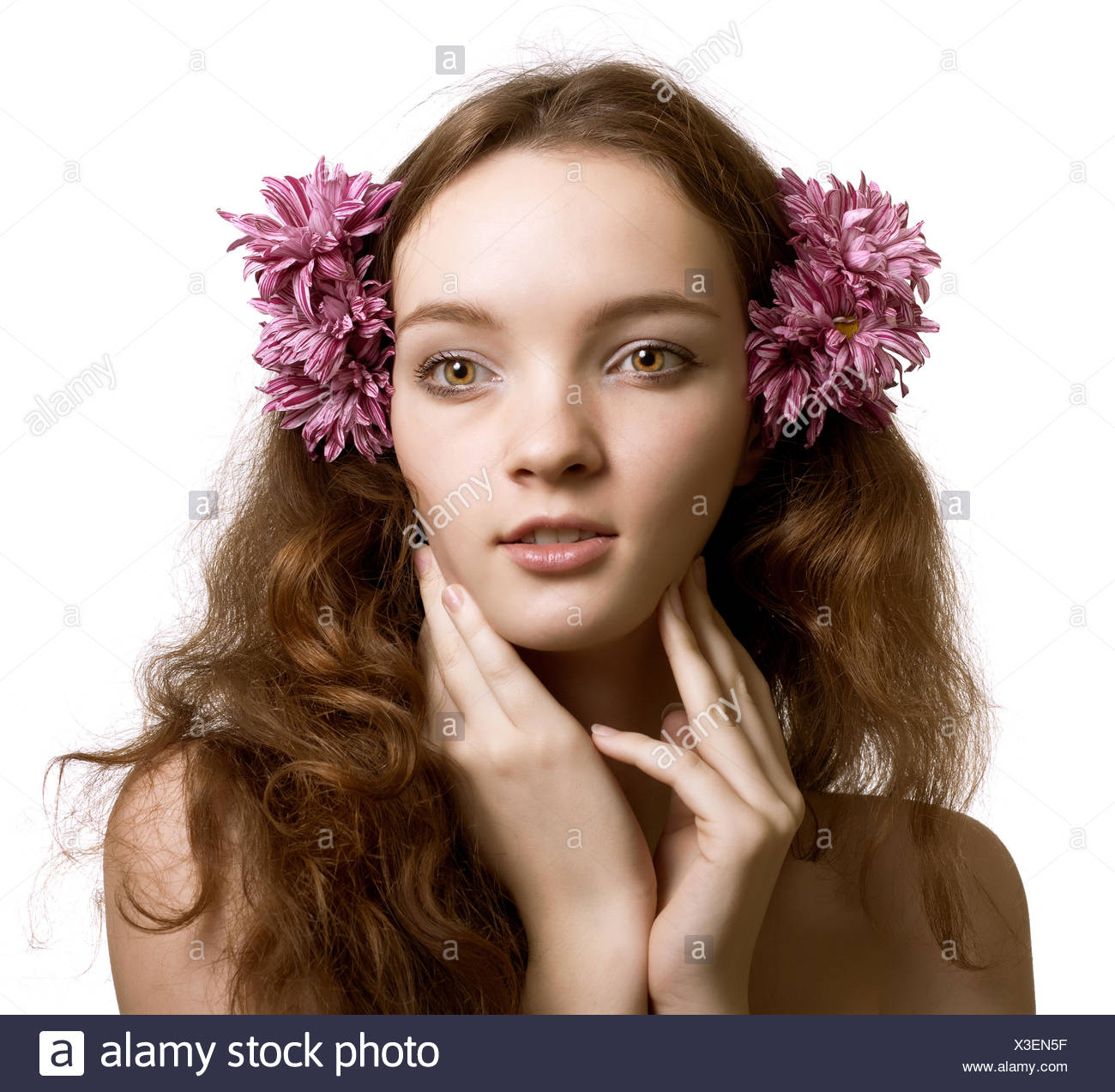 Portrait Of Beautiful Woman Face With Flower In Hair Isolated On