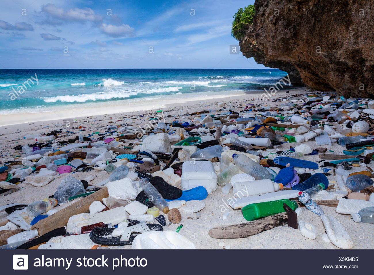 plastic waste washed up at greta beach christmas island australia
