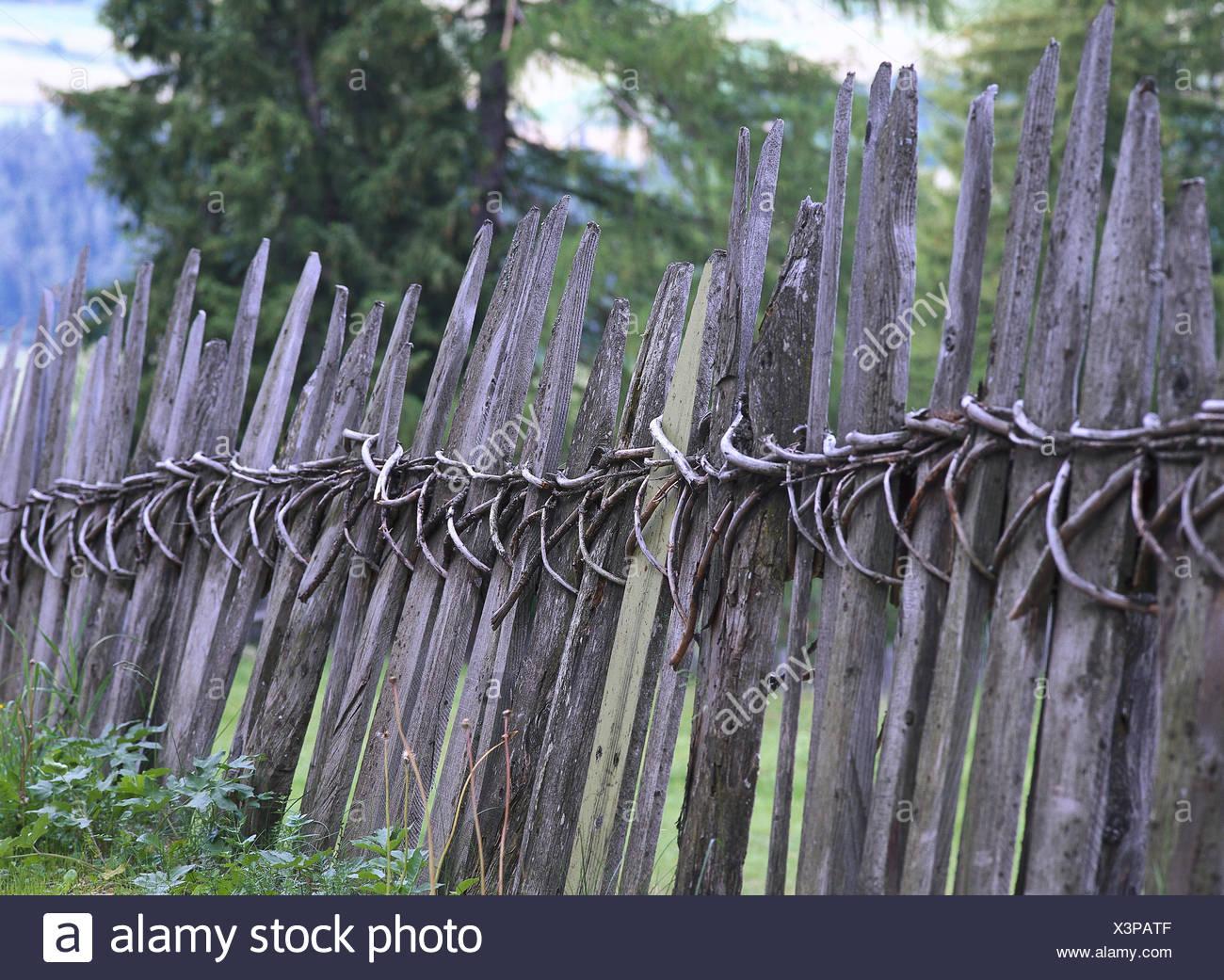 Italy, South Tyrol, Villnößtal, wooden fence, rurally, old, trees ...