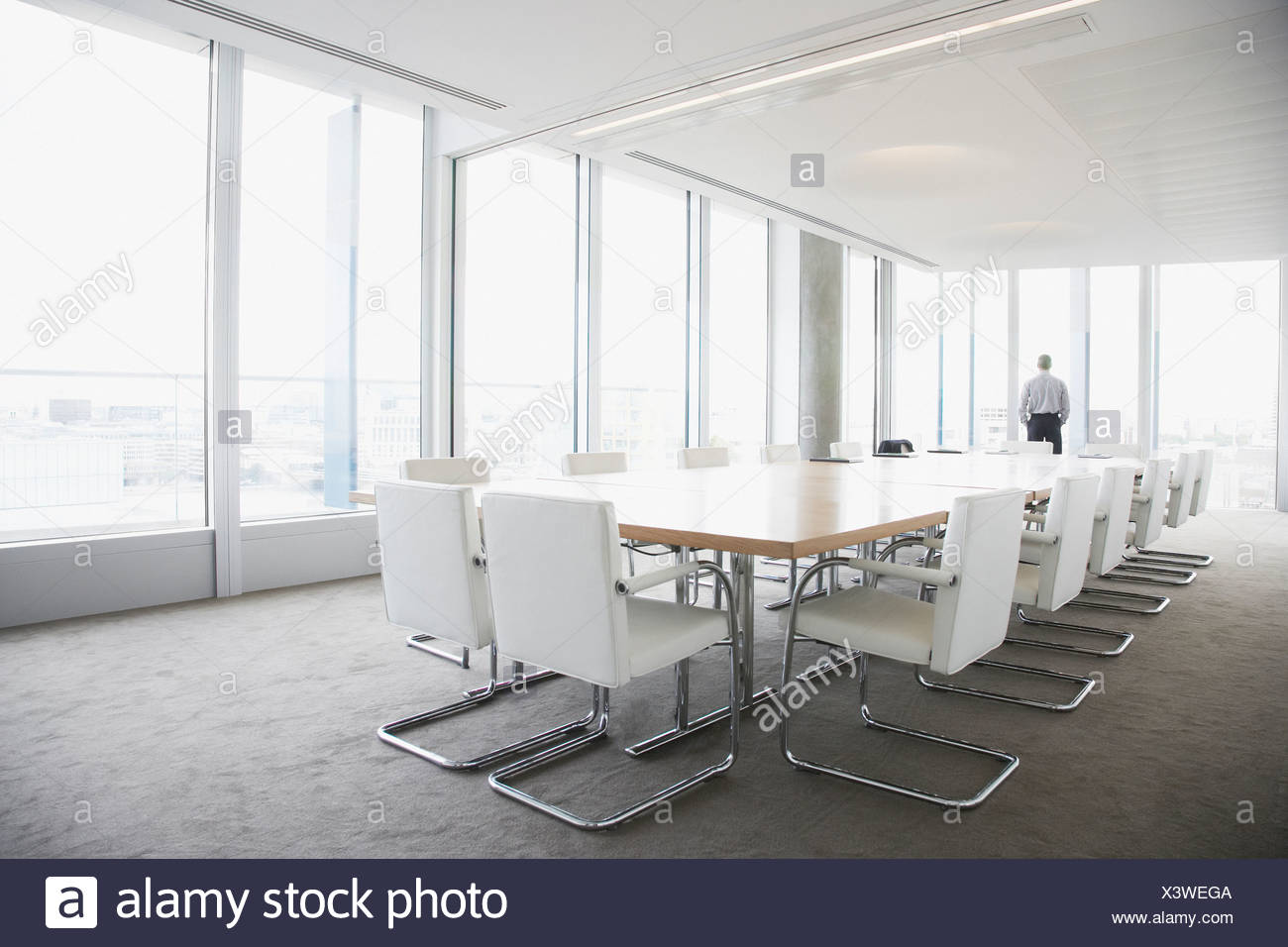 Businessman Standing In Conference Room Stock Photo Alamy - Standing conference room table
