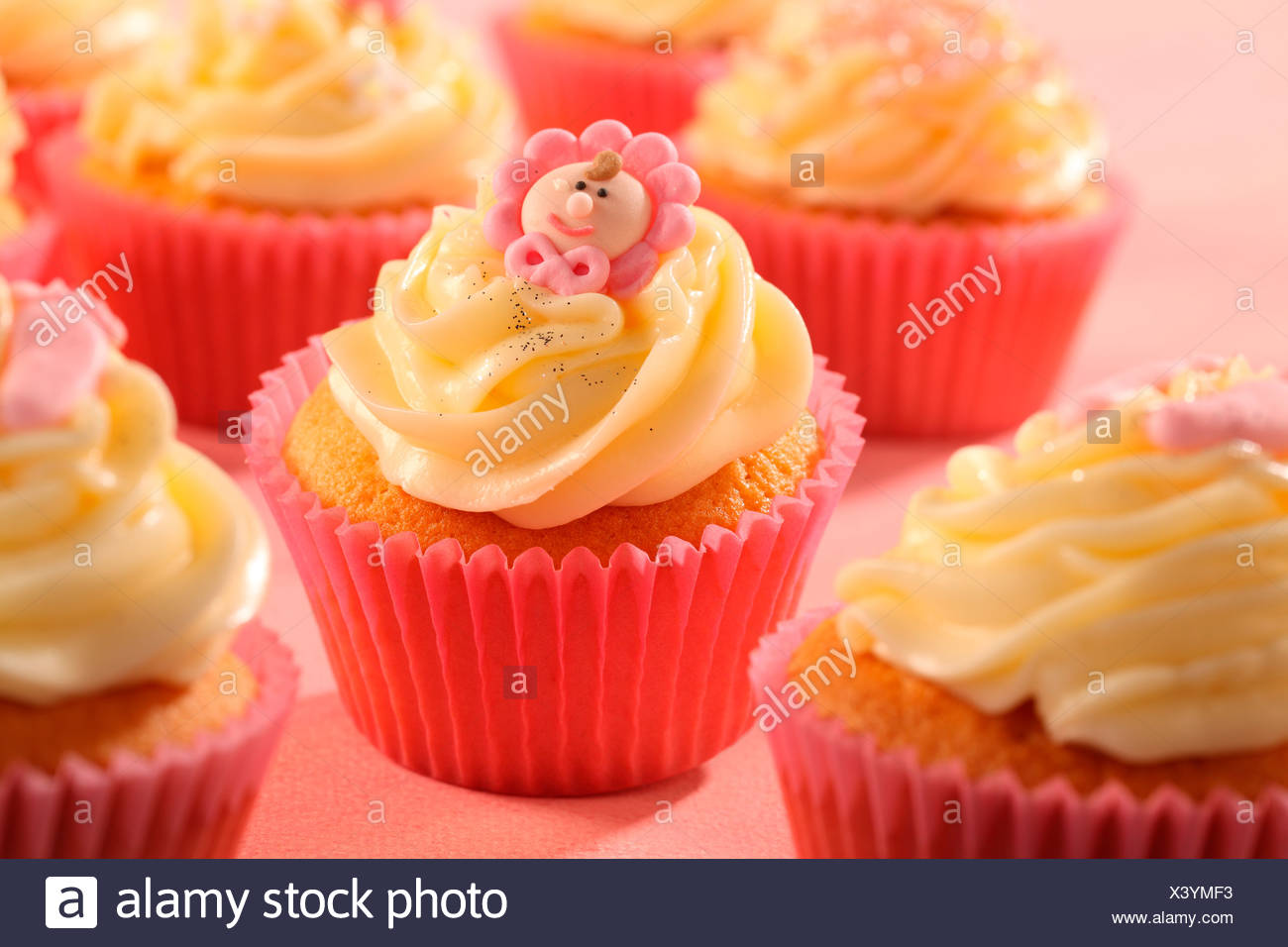Pink Baby Shower Cupcakes Stock Photo 277818663 Alamy