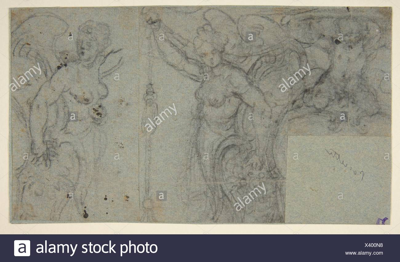 Design with Two Winged Female Figures and a Putto. Artist ...