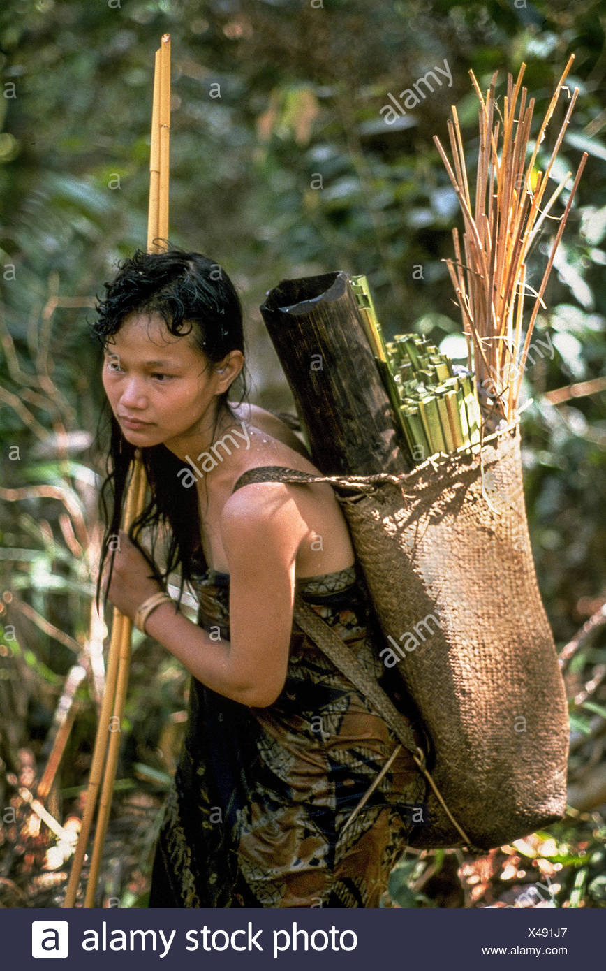 A Penan woman with her backpack filled with a water tube and weaving ...