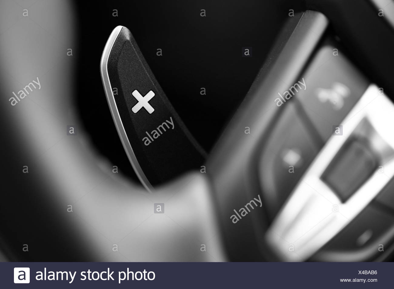 close up shot of a manual gear changing paddle on a car s steering rh alamy com Close Up Water Photography Close Up Lens for Photography