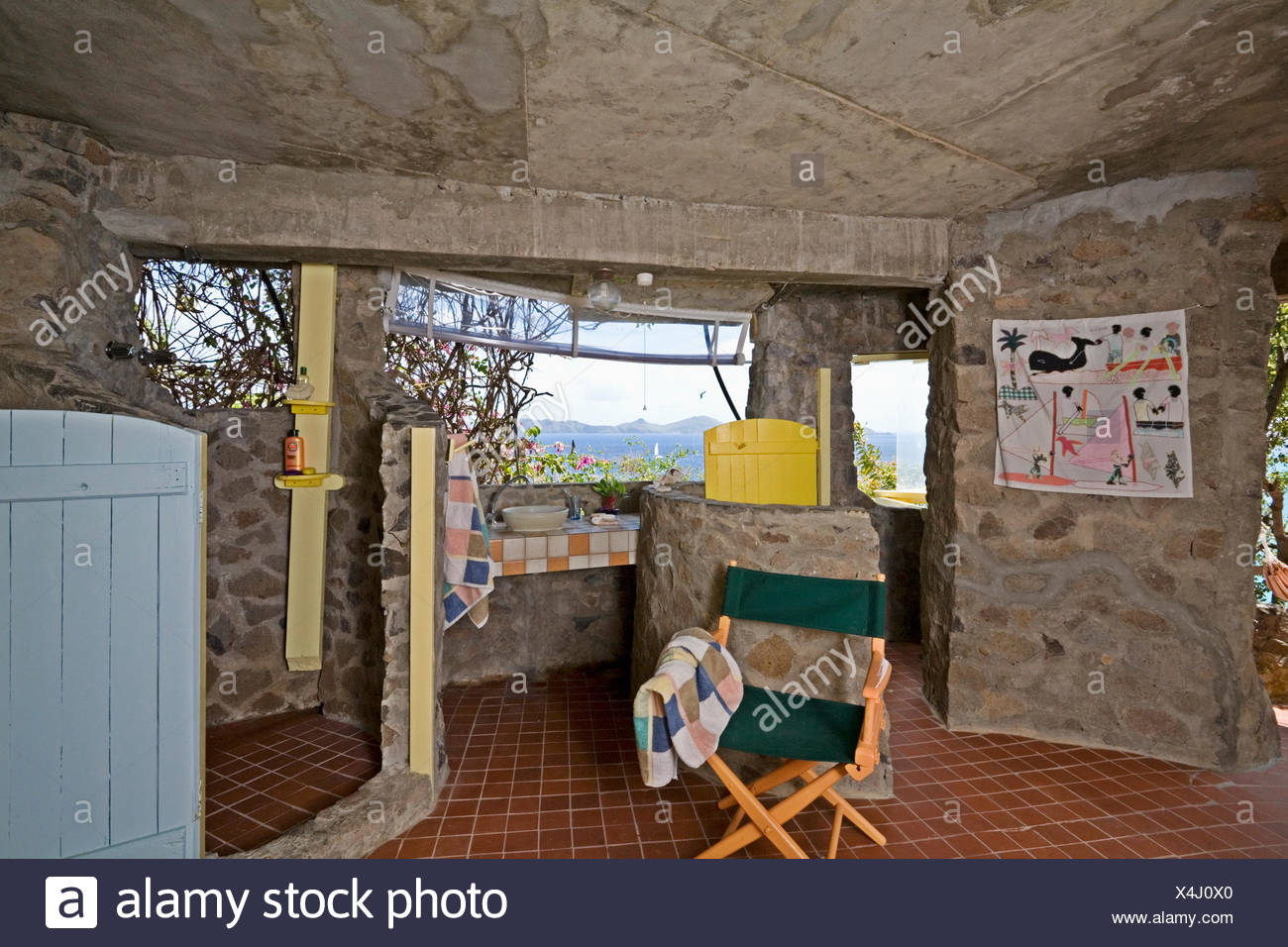 Bathroom with stone walls and ceiling in traditional house on the ...