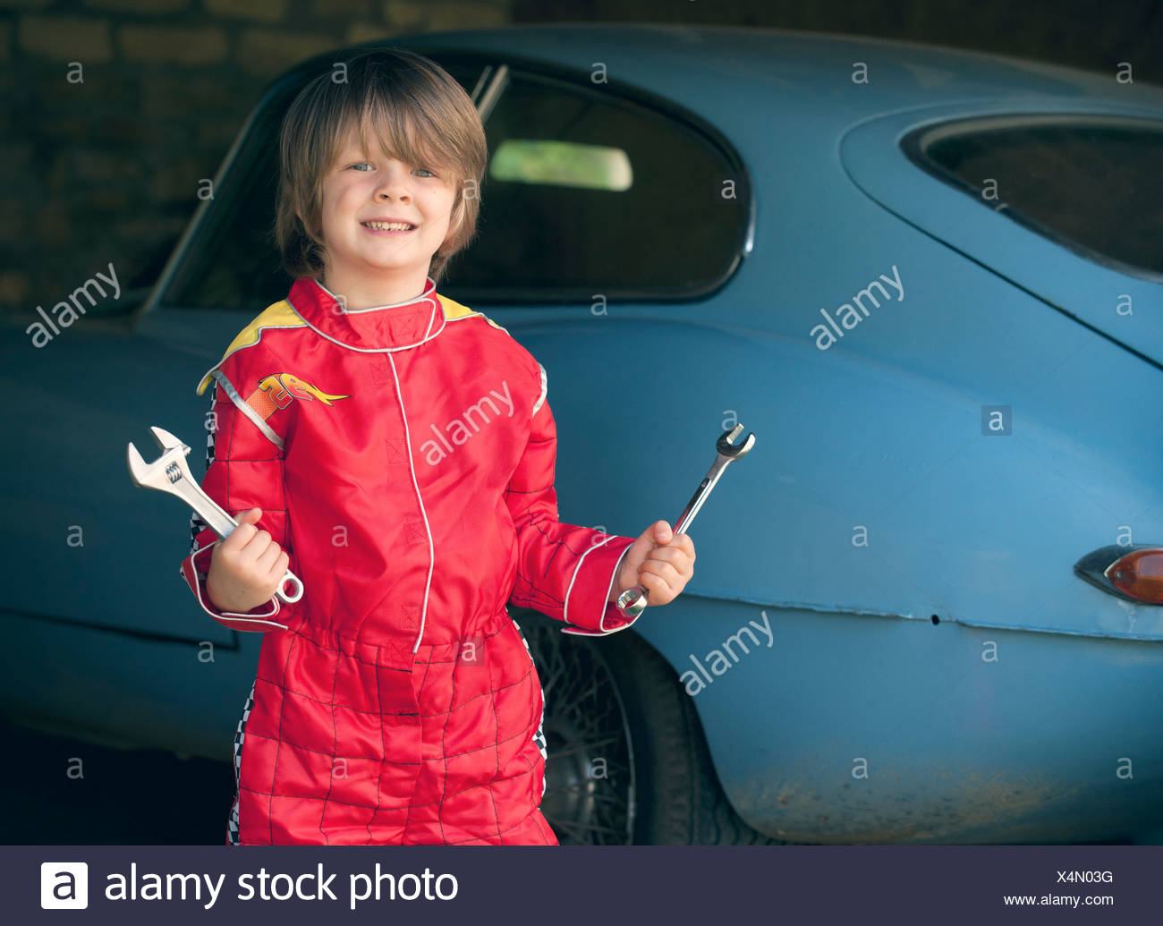 Boy Wearing Race Car Driver Costume Stock Photo 278285604 Alamy