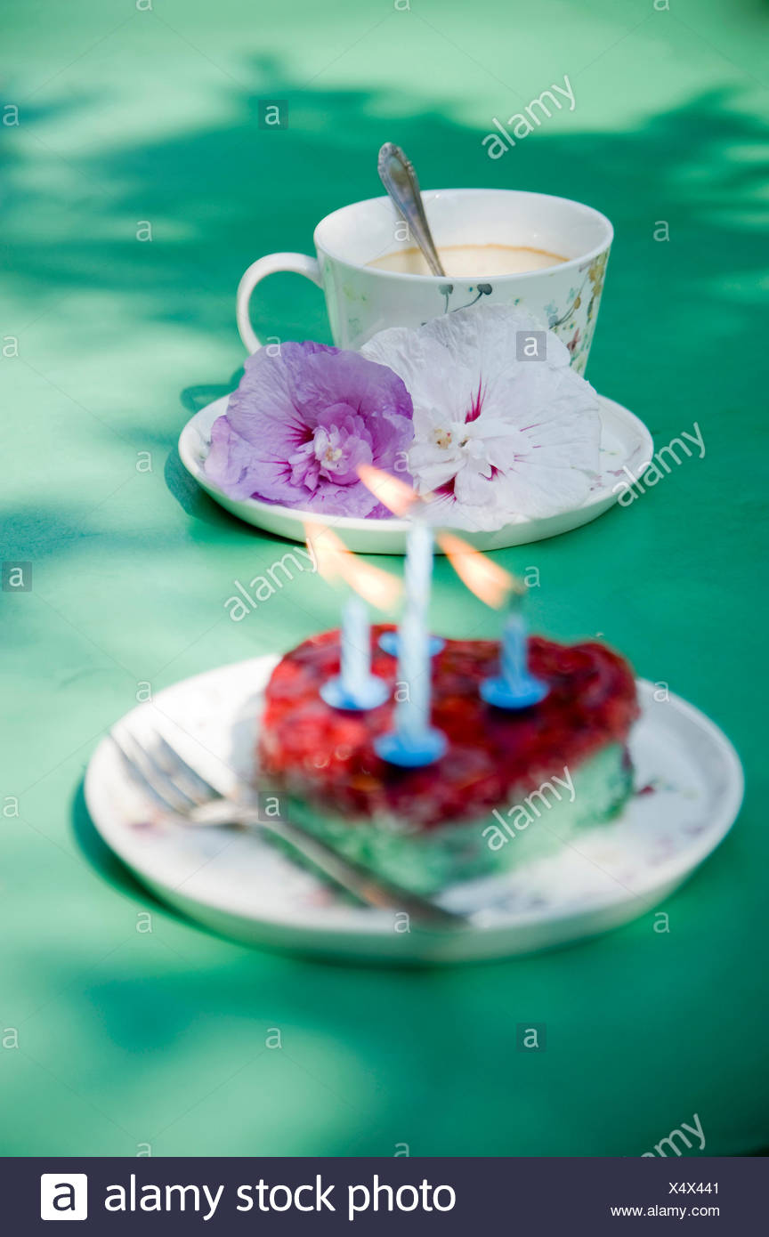 Heart Shaped Birthday Cake And Coffee Cup With Flowers Stock Photo