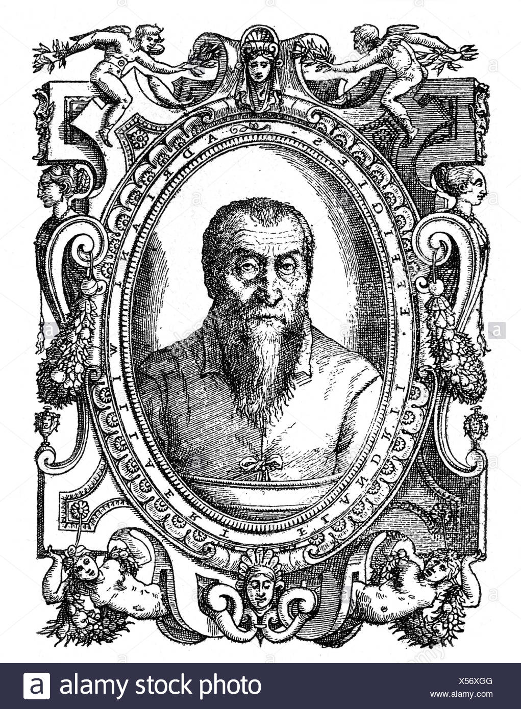 Gardano, Antonio, 1538 - 1569, Italian composer and printer, portrait,  copper engraving Adrian Willaert, 16th century, , Artist's Copyright has  not to be ...