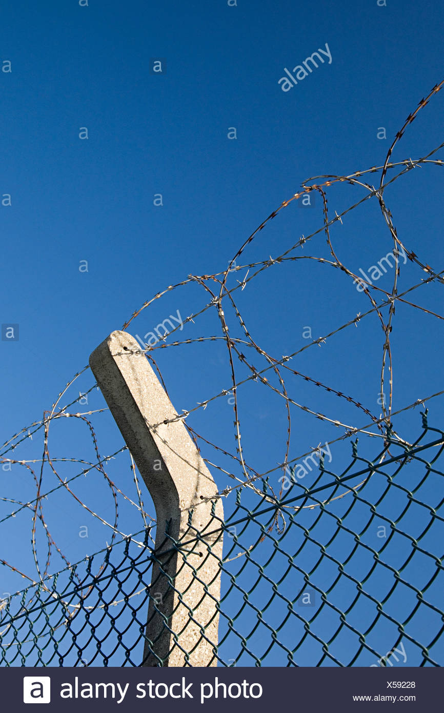 Barbed and razor wire on a fence Stock Photo: 278638368 - Alamy