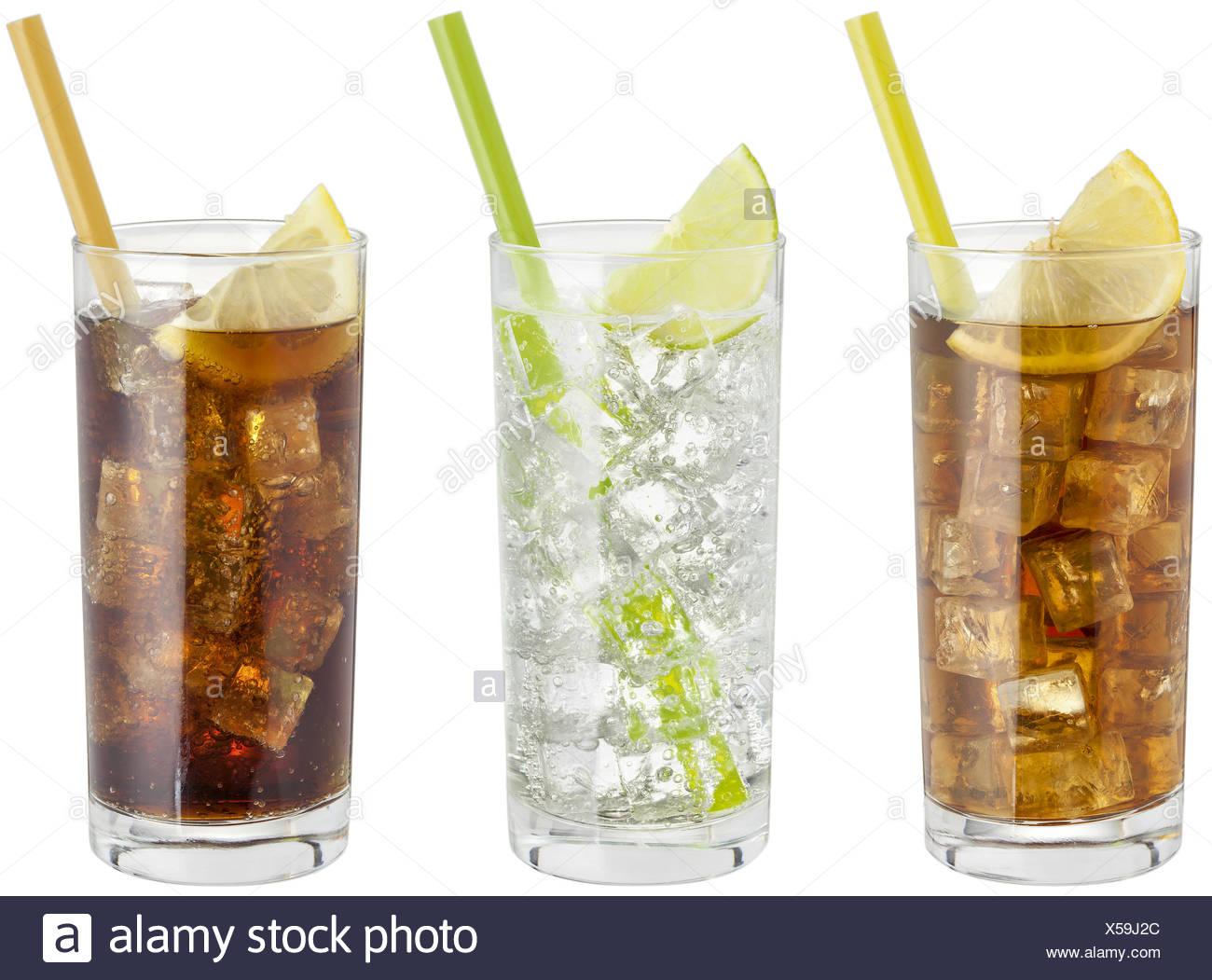 Erfrischungsgetraenke im Glas, Eistee, Wasser, Cola Stock Photo ...