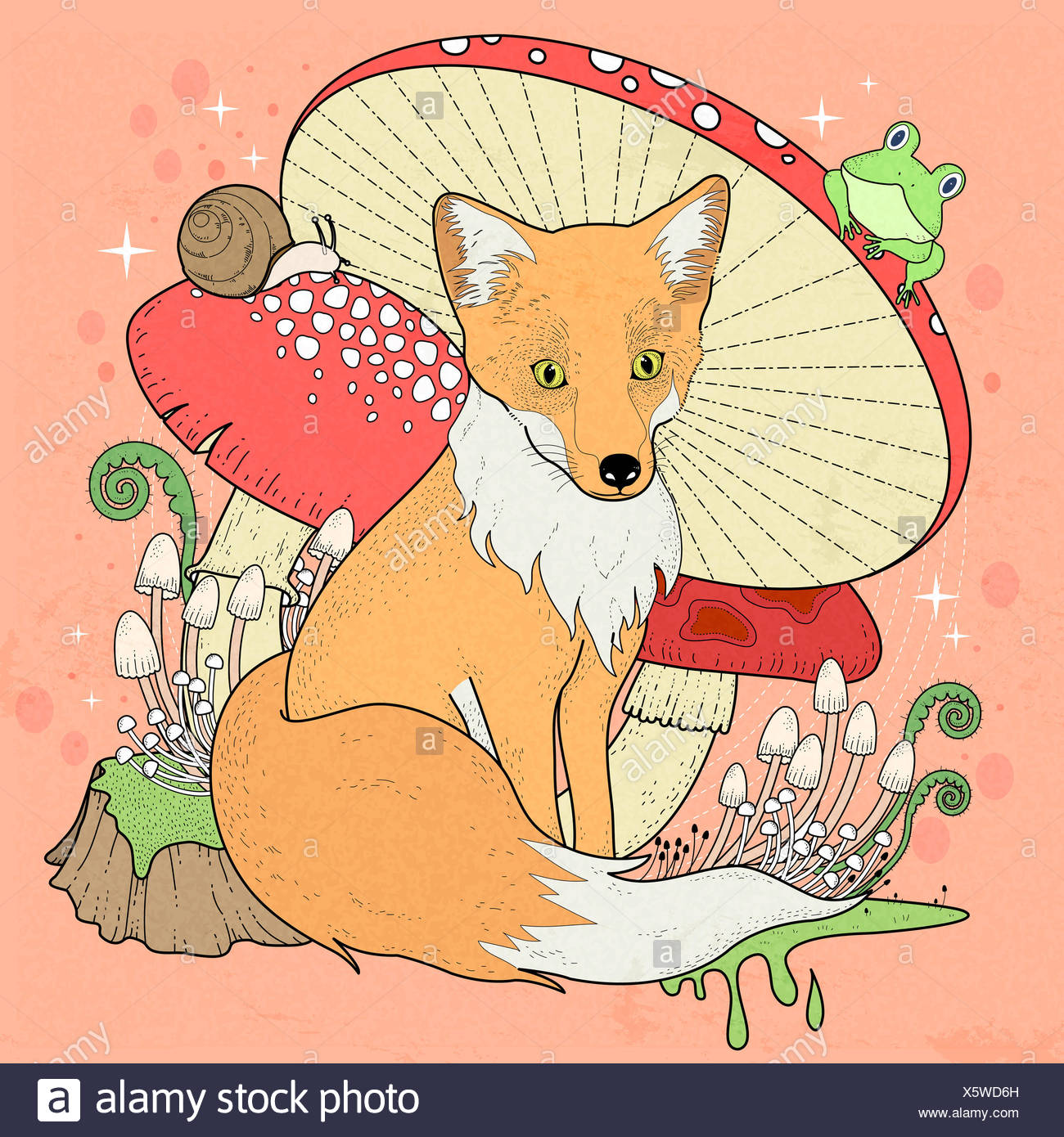 adorable fox coloring page with mushrooms in exquisite line Stock ...