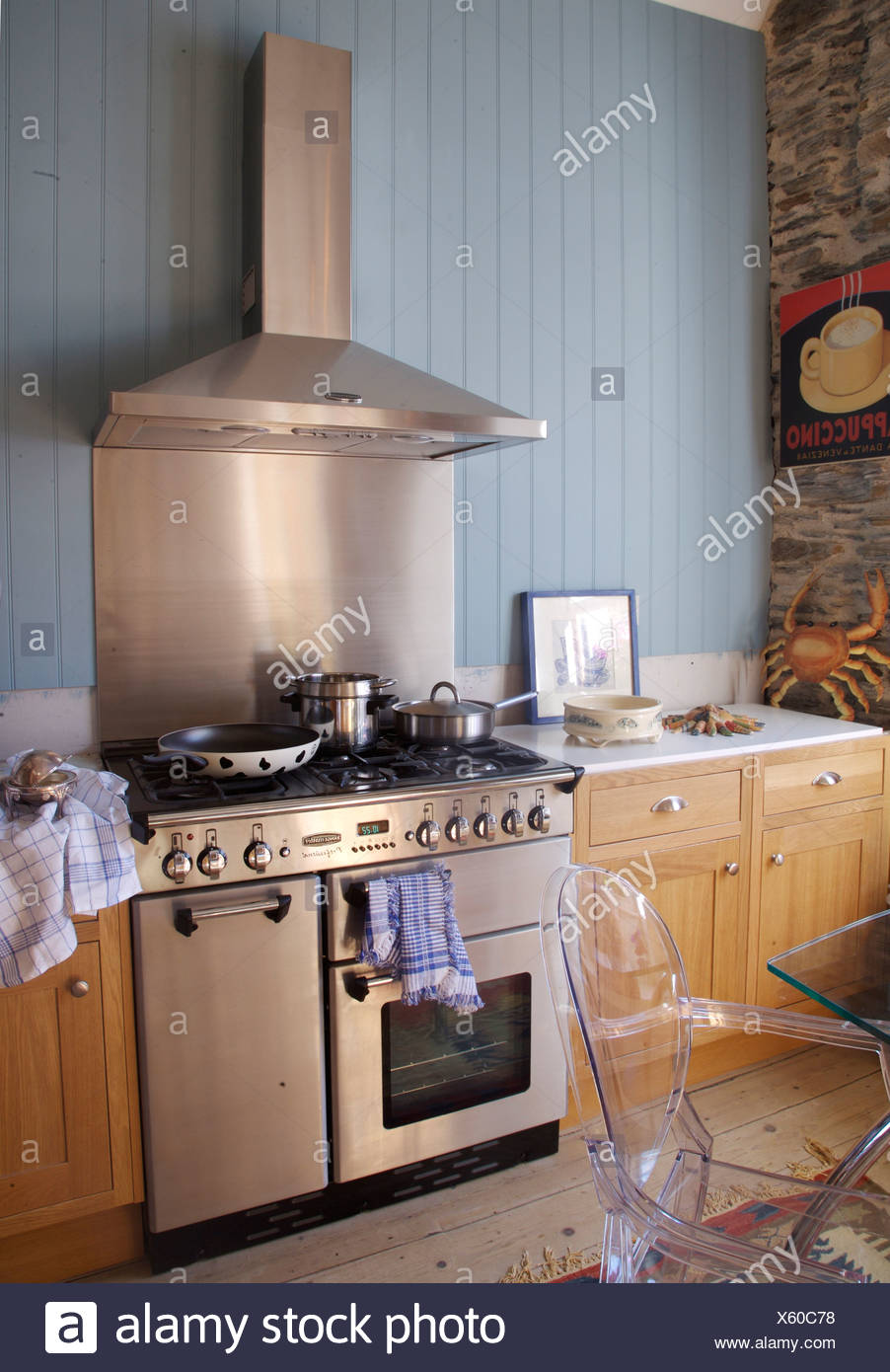 Stainless steel splash back cooker hood above range oven and cooker hood in country kitchen with blue tongue groove paneling