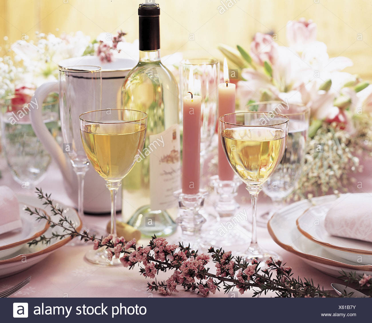 Formal table with white wine candles and flowers stock photo formal table with white wine candles and flowers mightylinksfo
